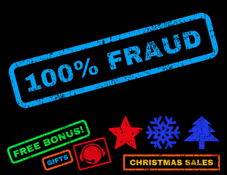 absolute: 100 Percent Fraud text rubber seal stamp watermark with bonus new year symbols. Caption inside rectangular banner with grunge design and dust texture.