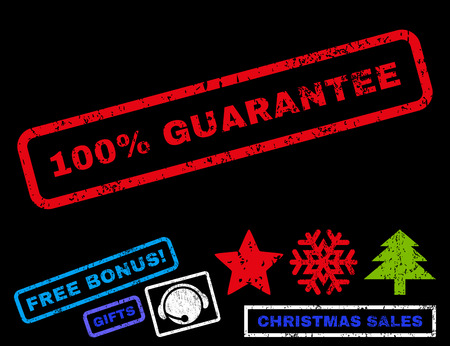 absolute: 100 Percent Guarantee text rubber seal stamp watermark with bonus christmas symbols. Caption inside rectangular shape with grunge design and unclean texture. Illustration