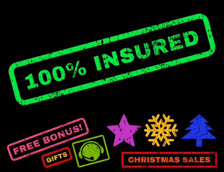 insured: 100 Percent Insured text rubber seal stamp watermark with additional bonus christmas symbols. Tag inside rectangular shape with grunge design and scratched texture. Illustration