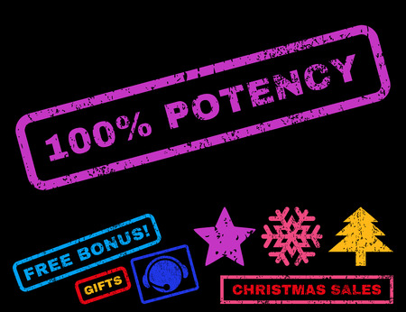 potency: 100 Percent Potency text rubber seal stamp watermark with bonus new year symbols. Tag inside rectangular banner with grunge design and unclean texture.