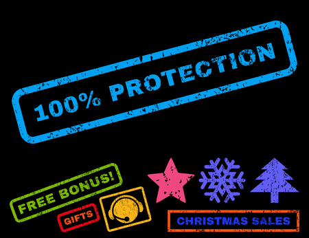absolute: 100 Percent Protection text rubber seal stamp watermark with bonus new year symbols. Tag inside rectangular shape with grunge design and dirty texture.