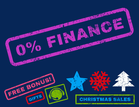 inability: 0 Percent Finance text rubber seal stamp watermark with additional bonus christmas symbols. Tag inside rectangular banner with grunge design and dust texture.