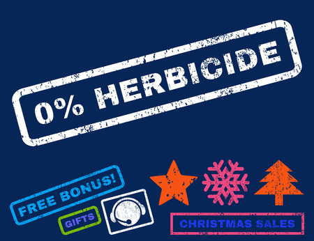 herbicide: 0 Percent Herbicide text rubber seal stamp watermark with bonus christmas symbols. Caption inside rectangular banner with grunge design and scratched texture. Illustration