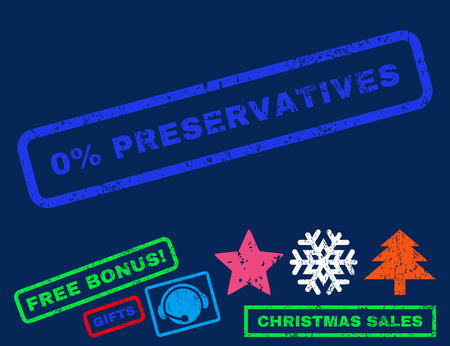 preservatives: 0 Percent Preservatives text rubber seal stamp watermark with additional bonus christmas symbols. Tag inside rectangular shape with grunge design and dust texture.
