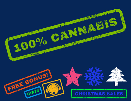 absolute: 100 Percent Cannabis text rubber seal stamp watermark with additional bonus new year symbols. Caption inside rectangular shape with grunge design and dirty texture.