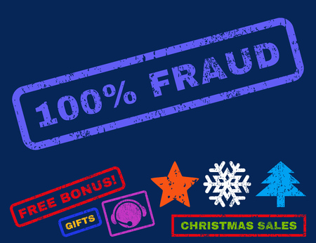 absolute: 100 Percent Fraud text rubber seal stamp watermark with bonus christmas symbols. Caption inside rectangular banner with grunge design and dust texture.