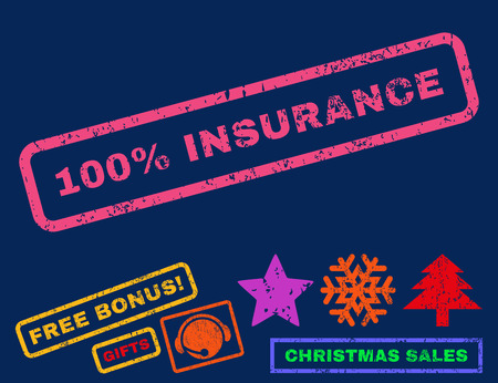 absolute: 100 Percent Insurance text rubber seal stamp watermark with additional bonus new year symbols. Caption inside rectangular banner with grunge design and scratched texture.
