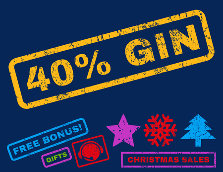 gin: 40 Percent Gin text rubber seal stamp watermark with bonus christmas symbols. Caption inside rectangular shape with grunge design and scratched texture. Illustration