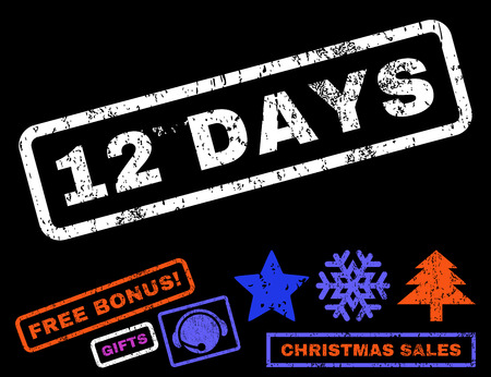 12 days of christmas: 12 Days text rubber seal stamp watermark with bonus new year symbols. Caption inside rectangular banner with grunge design and unclean texture.