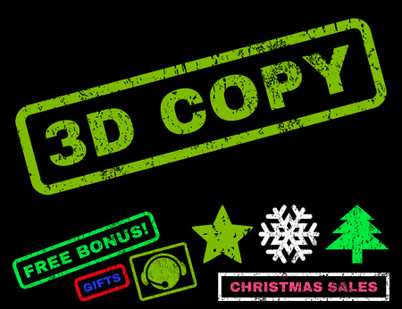 copy text: 3D Copy text rubber seal stamp watermark with bonus christmas symbols. Caption inside rectangular shape with grunge design and unclean texture.