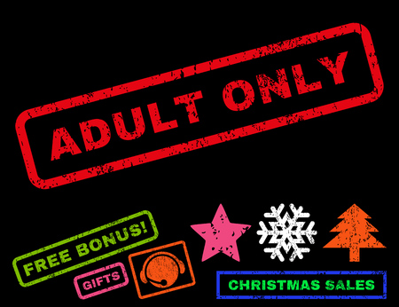 adult only: Adult Only text rubber seal stamp watermark with bonus new year symbols. Caption inside rectangular banner with grunge design and dust texture. Illustration