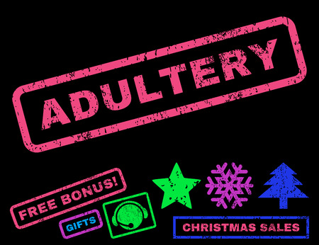 adultery: Adultery text rubber seal stamp watermark with bonus christmas symbols. Caption inside rectangular shape with grunge design and dust texture. Illustration