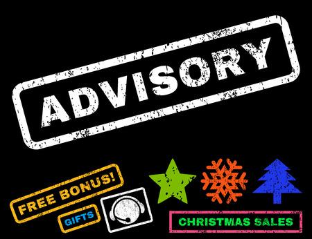 advisory: Advisory text rubber seal stamp watermark with bonus christmas symbols. Caption inside rectangular shape with grunge design and unclean texture. Illustration