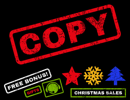 faked: Copy text rubber seal stamp watermark with additional bonus christmas symbols. Tag inside rectangular shape with grunge design and unclean texture.