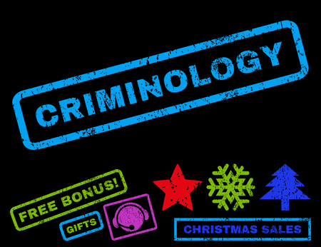 Criminology text rubber seal stamp watermark with bonus new year symbols. Caption inside rectangular banner with grunge design and unclean texture.