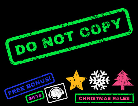 copy text: Do Not Copy text rubber seal stamp watermark with bonus christmas symbols. Caption inside rectangular banner with grunge design and dust texture.