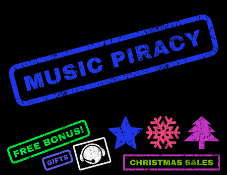 piracy: Music Piracy text rubber seal stamp watermark with bonus christmas symbols. Caption inside rectangular banner with grunge design and dirty texture.