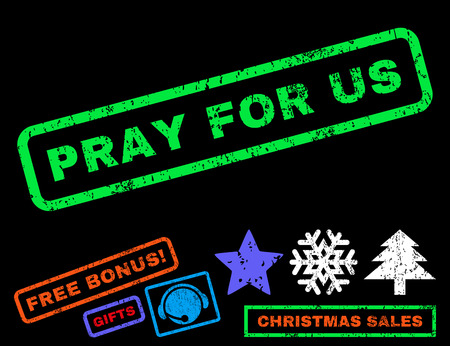 Pray For Us text rubber seal stamp watermark with additional bonus new year symbols. Caption inside rectangular banner with grunge design and unclean texture.