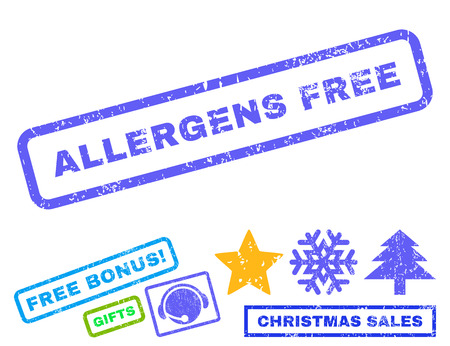 allergens: Allergens Free text rubber seal stamp watermark with additional bonus christmas symbols. Tag inside rectangular shape with grunge design and unclean texture.