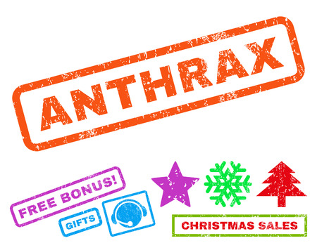 Anthrax text rubber seal stamp watermark with bonus new year symbols. Caption inside rectangular shape with grunge design and scratched texture. Illustration