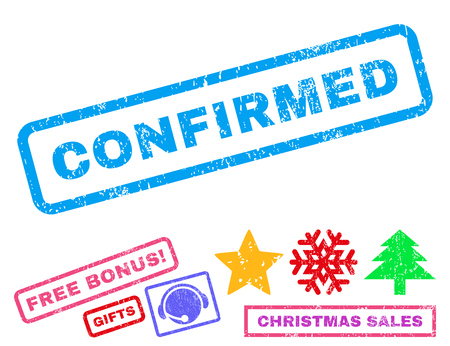 confirmed: Confirmed text rubber seal stamp watermark with additional bonus christmas symbols. Caption inside rectangular shape with grunge design and scratched texture.