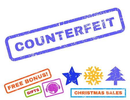 counterfeit: Counterfeit text rubber seal stamp watermark with bonus new year symbols. Caption inside rectangular banner with grunge design and scratched texture.