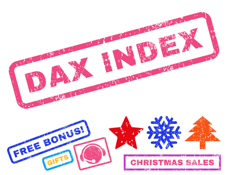 dax: Dax Index text rubber seal stamp watermark with additional bonus new year symbols. Caption inside rectangular banner with grunge design and dust texture. Illustration