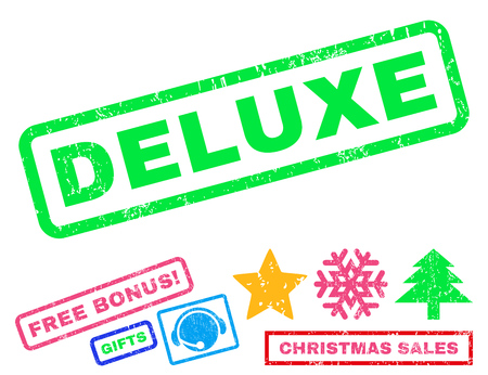 Deluxe text rubber seal stamp watermark with additional bonus christmas symbols. Tag inside rectangular banner with grunge design and unclean texture.