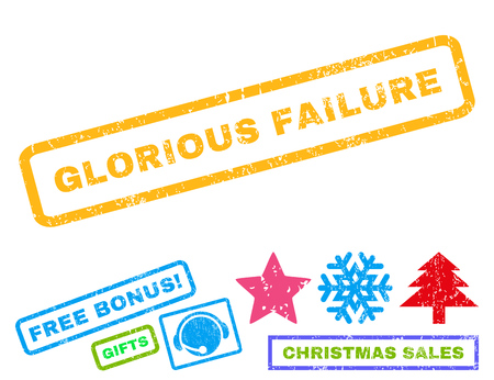 glorious: Glorious Failure text rubber seal stamp watermark with bonus christmas symbols. Tag inside rectangular banner with grunge design and dust texture.