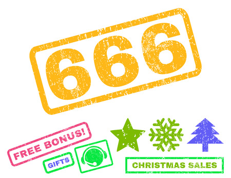 666 text rubber seal stamp watermark with bonus christmas symbols. Caption inside rectangular shape with grunge design and dirty texture.