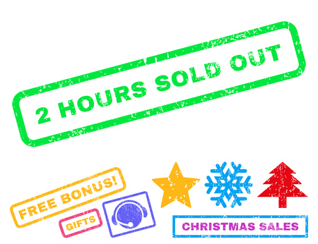 2 Hours Sold Out text rubber seal stamp watermark with bonus new year symbols. Caption inside rectangular banner with grunge design and dust texture.