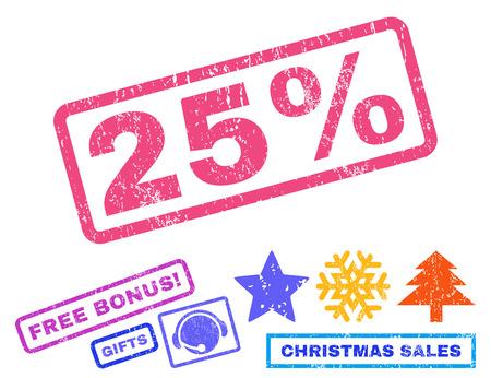 25% 本文ゴムスリーブは、新年の追加ボーナスのシンボルをスタンプの透かし。グランジ デザインと汚れた質感と長方形バナー内キャプションします  イラスト・ベクター素材