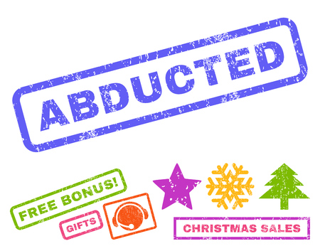 abducted: Abducted text rubber seal stamp watermark with additional bonus christmas symbols. Caption inside rectangular banner with grunge design and dirty texture.