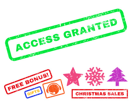 access granted: Access Granted text rubber seal stamp watermark with additional bonus new year symbols. Tag inside rectangular banner with grunge design and scratched texture.