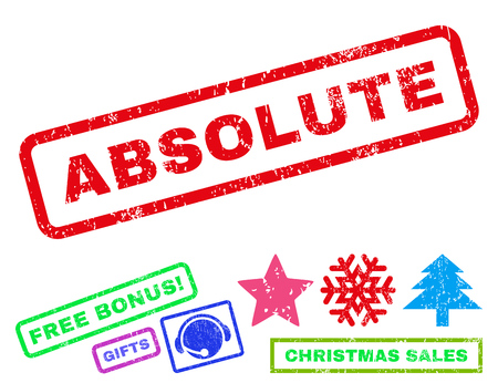 absolute: Absolute text rubber seal stamp watermark with bonus christmas symbols. Tag inside rectangular banner with grunge design and unclean texture. Illustration