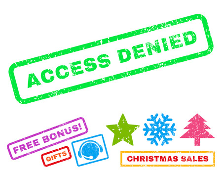 Access Denied text rubber seal stamp watermark with additional bonus new year symbols. Tag inside rectangular banner with grunge design and scratched texture. Ilustrace