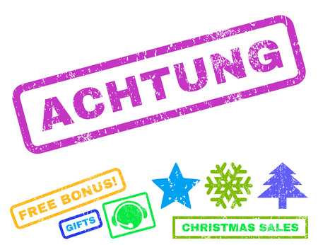 Achtung text rubber seal stamp watermark with bonus christmas symbols. Caption inside rectangular shape with grunge design and scratched texture. Illustration