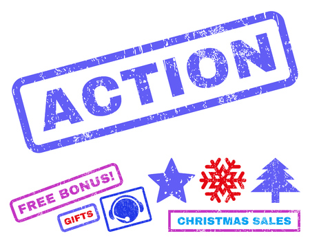 disciplinary action: Action text rubber seal stamp watermark with additional bonus new year symbols. Tag inside rectangular banner with grunge design and dust texture.