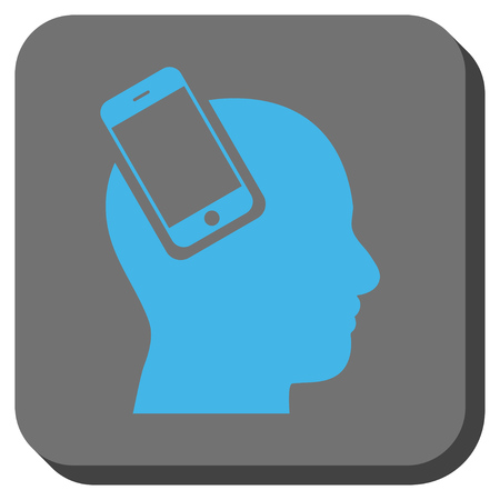 Smartphone Head Integration toolbar button. Vector pictograph style is a flat symbol inside a rounded square button, blue and gray colors.