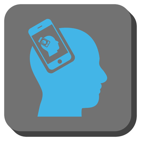 Smartphone Head Plugin Recursion interface button. Vector pictogram style is a flat symbol centered in a rounded square button, blue and gray colors. Illustration