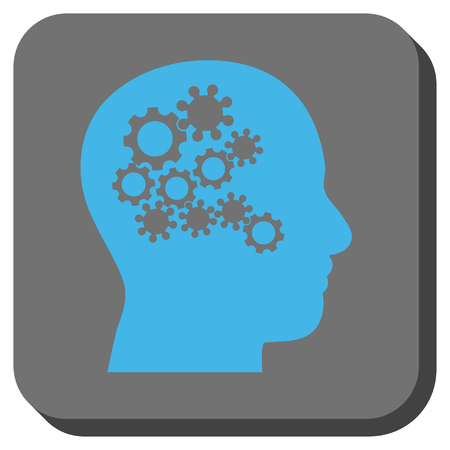 robo: Human Mind Gears interface toolbar icon. Vector pictogram style is a flat symbol in a rounded square button, blue and gray colors.