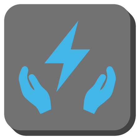 surety: Electricity Maintenance Hands square button. Vector pictograph style is a flat symbol inside a rounded square button, blue and gray colors.
