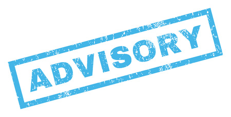 Advisory text rubber seal stamp watermark. Tag inside rectangular banner with grunge design and scratched texture. Inclined vector blue ink emblem on a white background.