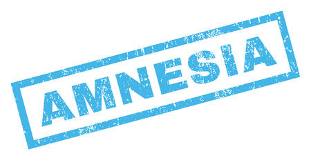 amnesia: Amnesia text rubber seal stamp watermark. Tag inside rectangular banner with grunge design and unclean texture. Inclined vector blue ink emblem on a white background.