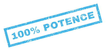 testiculos: 100 Percent Potence text rubber seal stamp watermark. Tag inside rectangular banner with grunge design and unclean texture. Inclined vector blue ink sign on a white background.