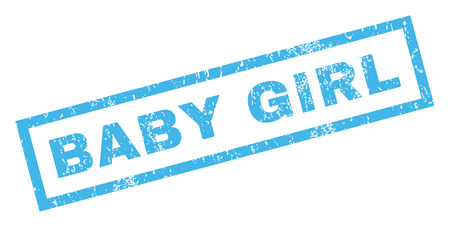 dirty girl: Baby Girl text rubber seal stamp watermark. Caption inside rectangular banner with grunge design and scratched texture. Inclined vector blue ink sticker on a white background. Illustration