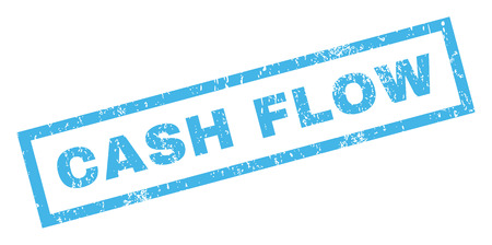 cash flow: Cash Flow text rubber seal stamp watermark. Tag inside rectangular shape with grunge design and unclean texture. Inclined vector blue ink sign on a white background.