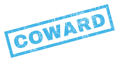 coward: Coward text rubber seal stamp watermark. Caption inside rectangular banner with grunge design and dust texture. Inclined vector blue ink sticker on a white background. Illustration