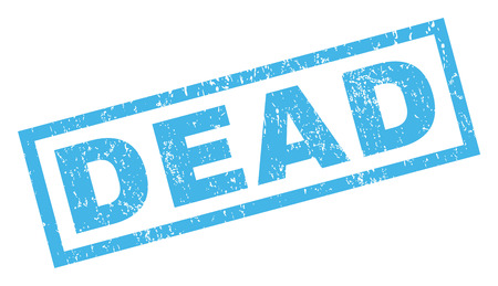 Dead text rubber seal stamp watermark. Tag inside rectangular shape with grunge design and unclean texture. Inclined vector blue ink sticker on a white background.