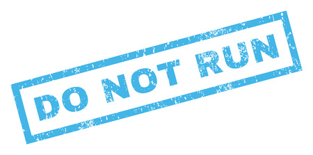 no correr: Do Not Run text rubber seal stamp watermark. Caption inside rectangular shape with grunge design and scratched texture. Inclined vector blue ink sticker on a white background. Vectores